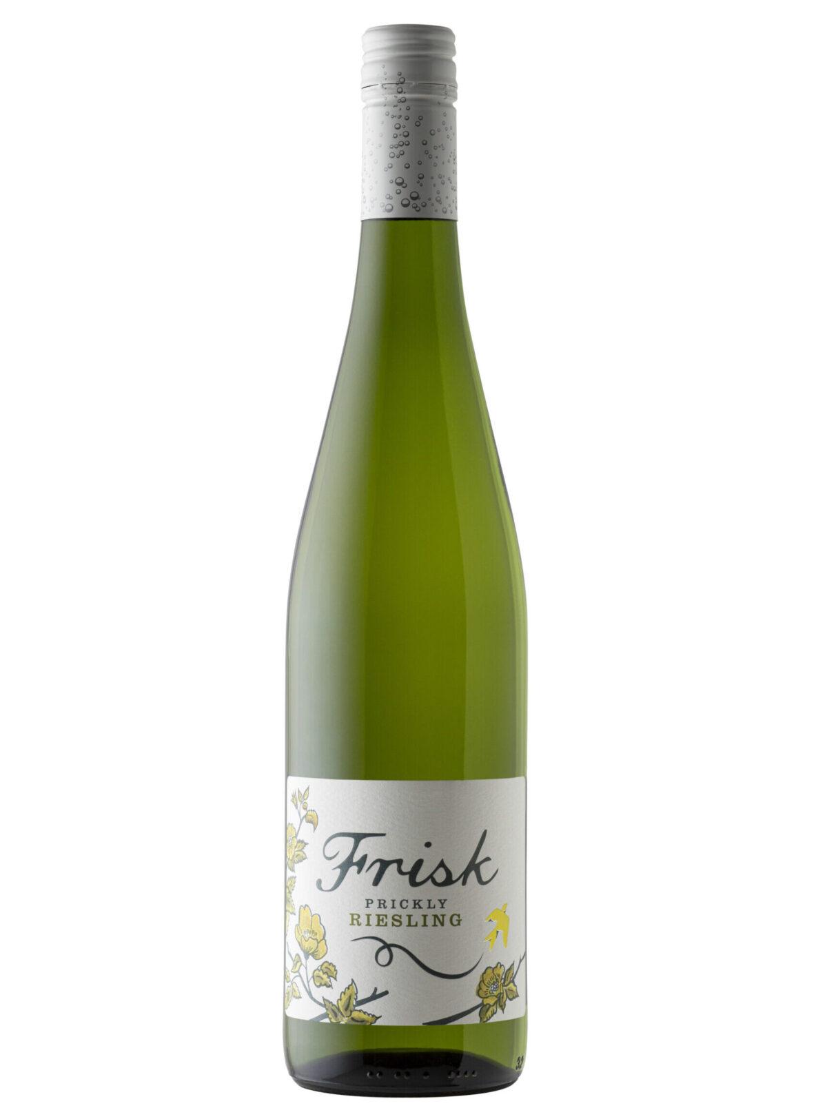 Frisk Prickley Riesling green wine bottle.