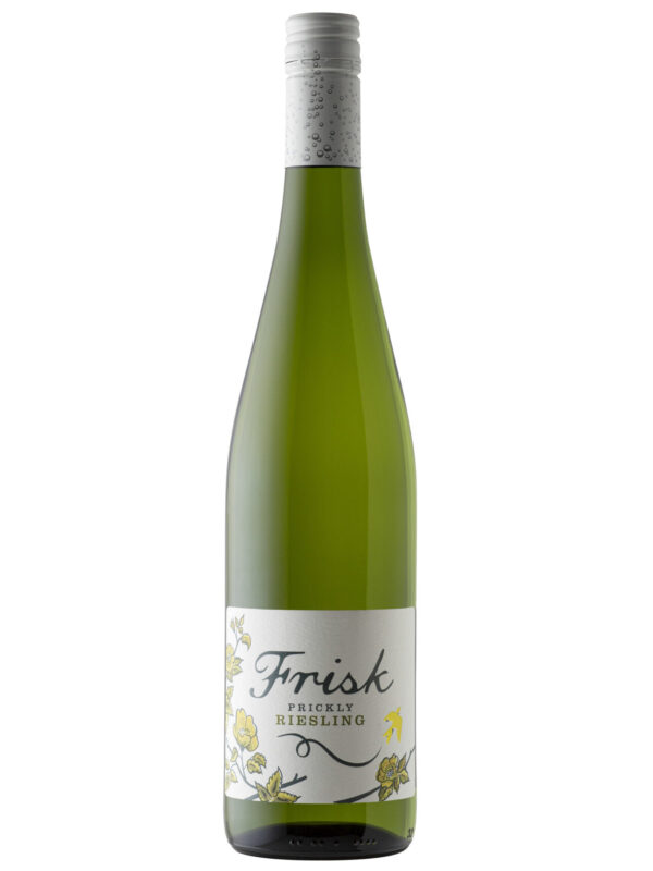 Frisk Prickley Riesling green wine bottle.